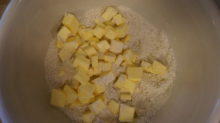 Cubed Butter for Pie Crust from http://www.pleasepassthepeas.com
